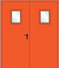 Дверь противопожарная двупольная остекленная EIS 60